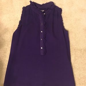 J. Crew 100% silk top with ruffle detail.